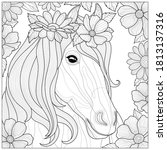 a horse with flowers on its...   Shutterstock .eps vector #1813137316