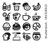 set of black flat icons about... | Shutterstock .eps vector #181318313