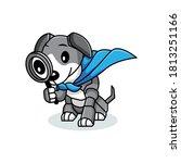 cute detective dog. suitable... | Shutterstock .eps vector #1813251166