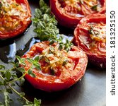 roasted tomatoes with garlic... | Shutterstock . vector #181325150