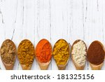 Variety Of Spices On Wooden...