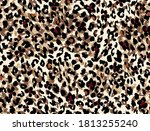 seamless leopard pattern ...   Shutterstock .eps vector #1813255240