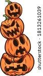 halloween pumpkin stack with... | Shutterstock .eps vector #1813261039