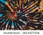 tie dye brown orange blue red ... | Shutterstock .eps vector #1813327336