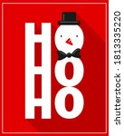ho ho ho snowman christmas card ... | Shutterstock .eps vector #1813335220