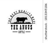 retro vintage cattle angus beef ... | Shutterstock .eps vector #1813345186
