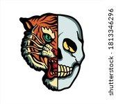 tiger and skull tattoo vector...   Shutterstock .eps vector #1813346296