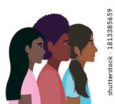 diversity skins of black women... | Shutterstock .eps vector #1813385659