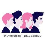 woman and men cartoons in side... | Shutterstock .eps vector #1813385830