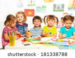 gluing and painting lesson... | Shutterstock . vector #181338788