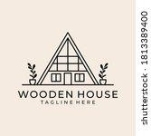 Wooden House Vintage Line Art...