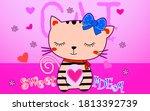 cartoon cute magical on pink... | Shutterstock .eps vector #1813392739
