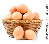 Eggs In Basket Isolated On...