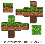 papercraft mini dirt block.... | Shutterstock .eps vector #1813422670