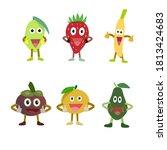 smile vector fruits  mango ... | Shutterstock .eps vector #1813424683
