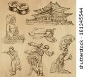 Travel : KOREA set no.1. Collection of hand drawn illustrations. Each drawing comprises two layers of outlines, the colored background is isolated.
