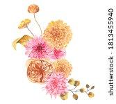 watercolor autumn floral... | Shutterstock . vector #1813455940