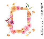 watercolor autumn floral... | Shutterstock . vector #1813456009