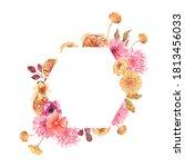 watercolor autumn floral... | Shutterstock . vector #1813456033