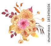 watercolor autumn floral... | Shutterstock . vector #1813456036