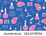 cultured meat science seamless...   Shutterstock .eps vector #1813478956