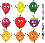 cute bright colors of fruits... | Shutterstock .eps vector #1813508836