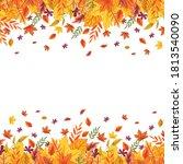 falling autumn leaves template  ... | Shutterstock .eps vector #1813540090