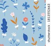 vector summer floral seamless... | Shutterstock .eps vector #1813552663