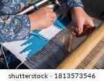 Woman Hand Weaving On Manual...