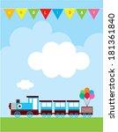 happy train holiday | Shutterstock .eps vector #181361840