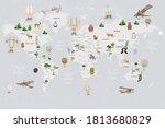 animals world map for kids... | Shutterstock . vector #1813680829