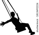 a girl swinging body silhouette ... | Shutterstock .eps vector #1813692226