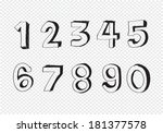 sketch numbers 0 9 | Shutterstock .eps vector #181377578