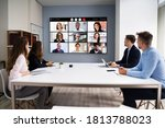 online video conference social... | Shutterstock . vector #1813788023