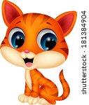 Stock vector cute cat cartoon 181384904