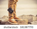 feet man and vintage retro... | Shutterstock . vector #181387793