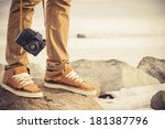 feet man and vintage retro... | Shutterstock . vector #181387796