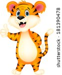 cute tiger cartoon giving... | Shutterstock .eps vector #181390478