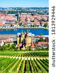 Small photo of Cityscape of Wurzburg and Main River. Top view to well-groomed vineyards on a hillside from from the Marienberg Fortress (Festung Marienberg), which is the symbol of city. Franconia, Bavaria, Germany.