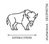 bison pixel perfect linear icon.... | Shutterstock .eps vector #1813930736