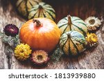 Pumpkins And Dried Flower....