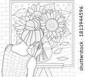 girl draws sunflowers.coloring ... | Shutterstock .eps vector #1813944596