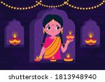 diwali background in flat design | Shutterstock .eps vector #1813948940