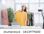 asian woman selling vintage...   Shutterstock . vector #1813979600