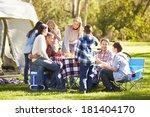 two families enjoying camping... | Shutterstock . vector #181404170