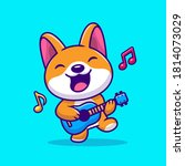cute corgi playing guitar... | Shutterstock .eps vector #1814073029