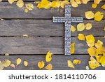 Autumn Background. White Wooden ...