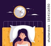 insomnia woman. unhappy  sad ... | Shutterstock .eps vector #1814116550