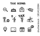 tax icons  mono vector symbols