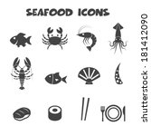 seafood icons  mono vector... | Shutterstock .eps vector #181412090